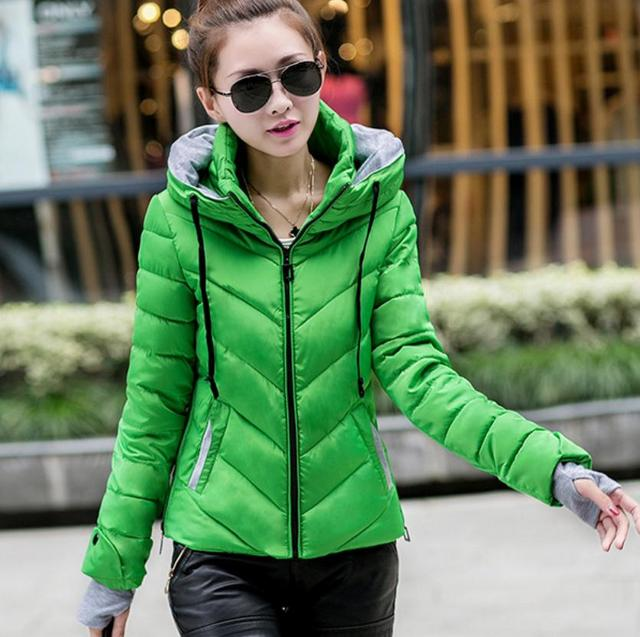 d242484b28c Autumn and winter slim coat women 2018 spring down cotton-padded jacket  female wadded jacket pink ladies plus size green jackets