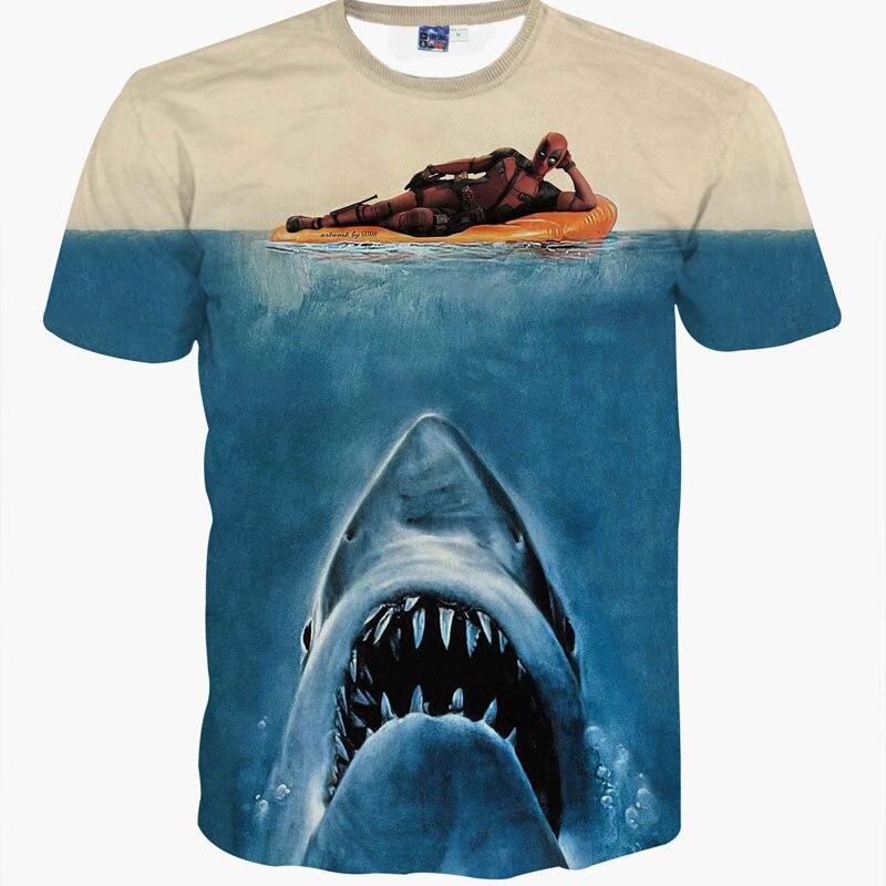 3d animal t camisa impresso deadpool t-shirt com cabeça de tubarão azul camisa animais t unisex casual manga curta top camiseta homme