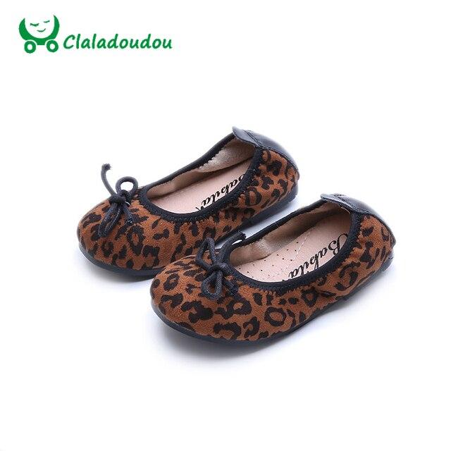 Claladoudou Girls Shoes Spring Autumn Flannel Leopard Dance Shoes Comfortable Casual Shoe Super Soft 2017 Fashion School Shoe