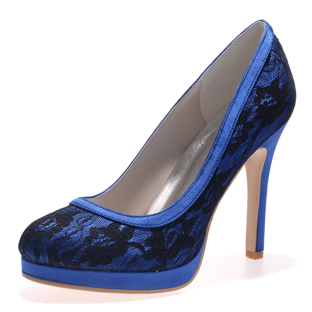 Robe Mariage Haute Chaussures Bal Pompes Élégante Bleu Noir Plate Dentelle forme Talon Graduation Talons Femme Blanc Creativesugar De Partie wvq848I