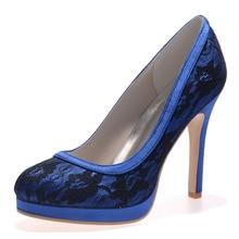 Elegant woman lace wedding shoes blue black white high heel dress party prom graduation pumps dancing shoes platform