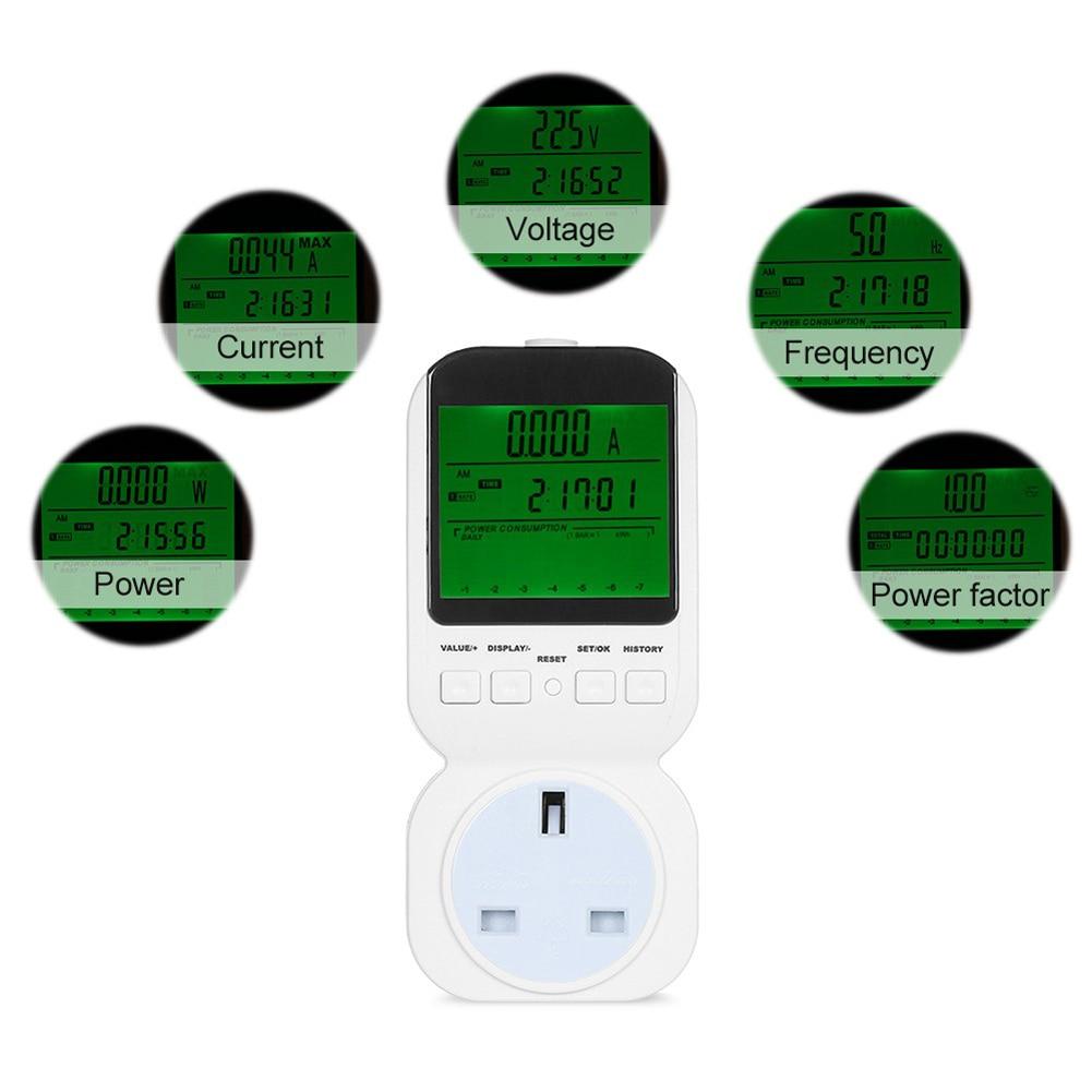 Digital Energy Meter Plug Power Meter Voltage Wattmeter Power Analyzer Power Socket Electric Meter Watt Meter UK Plug