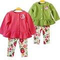 2017 Primavera Bebê Recém-nascido Conjunto de Roupas Da Menina do Algodão Ocasional T-shirt Borboleta Floral Leggings Infantil Ternos Conjuntos de Roupas de Bebe