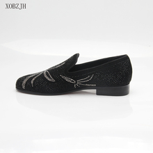 2019 New Men Dress Shoes Handmade Leisure Rhinestone Style Wedding Party Shoes Men Flats Black Leather Loafers Shoes Big Size christia bella metal signature shark tooth rhinestone men loafers wedding party dress shoes smoking slippers casual men flats
