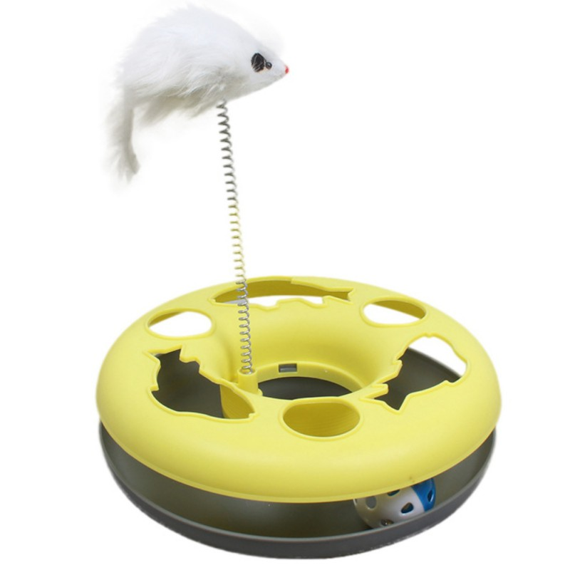 Cat training toys Single - layer Amusement Plate Mouse Spring Cat Toys Cat Turntable Pet Interactive Toys Cat Supplies