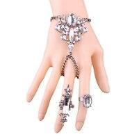 Nova Moda Feminina Set Jóias Declaração de Cristal Flor Pulseira Anel de Dedo Indicador Dedo Médio Anéis Cadeia De Pulso