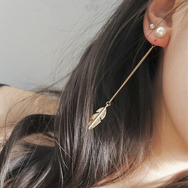 Simulated Pearl Tassel Long Dangle Earrings For women Leaf Feathers Drop Brincos Bijoux Boucle d'oreille Earring Jewelry E0329