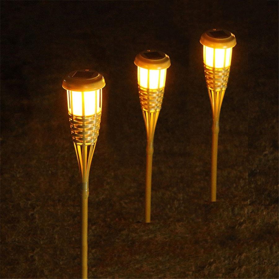 thrisdar unids solar paisaje lmparas de antorcha de bamb punto del jardn de luz al