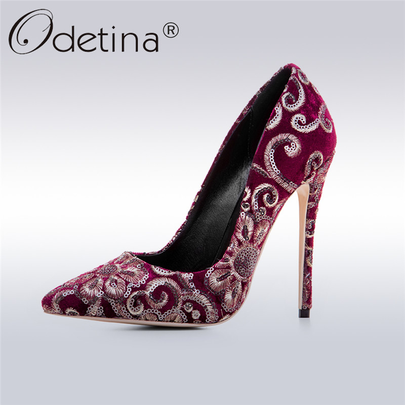 Odetina 2018 Fashion Womens Sexy Pumps Pointed Toe Stilettos Shoes Luxury Extreme High Heels 12 CM Embroider Flower Big Size 43 sexy fashion womens platform pumps strappy buckle high heels shoes big size shoes black beige yellow pink white