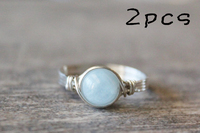 Silver Wire Wrapped Aquamarine Ring 2pcs Handmade Sterling Silver Ring Fashion Unique Girl Gift Crystal Jewelry