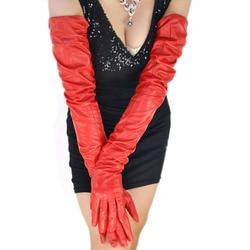 Женские Длинные Простые очень длинные красные перчатки из натуральной овечьей кожи 80 см (31,5 )