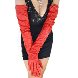 women 80cm(31.5) long plain super long real sheep leather opera red gloves