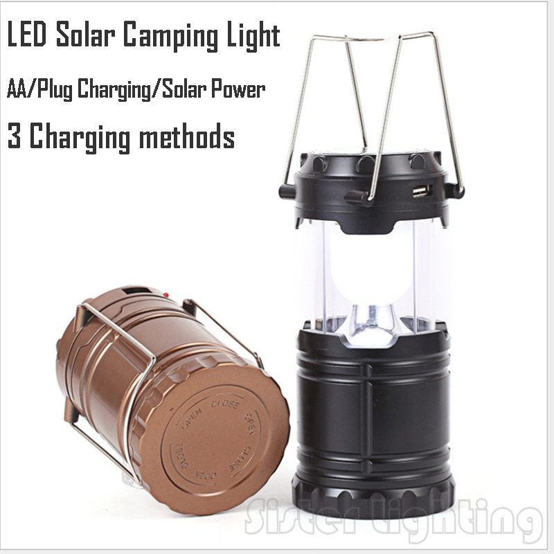 LED Portable solar Camping Light Rechargeable Hand Lamp camping Lantern Tent Lights for Outdoor Lighting Hiking Free Shipping