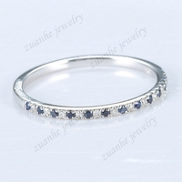 Half Eternal 24CT Natural Diamonds Sapphires Wedding Band 14k White Gold Ring Engagement Anniversary Ring Gemstone