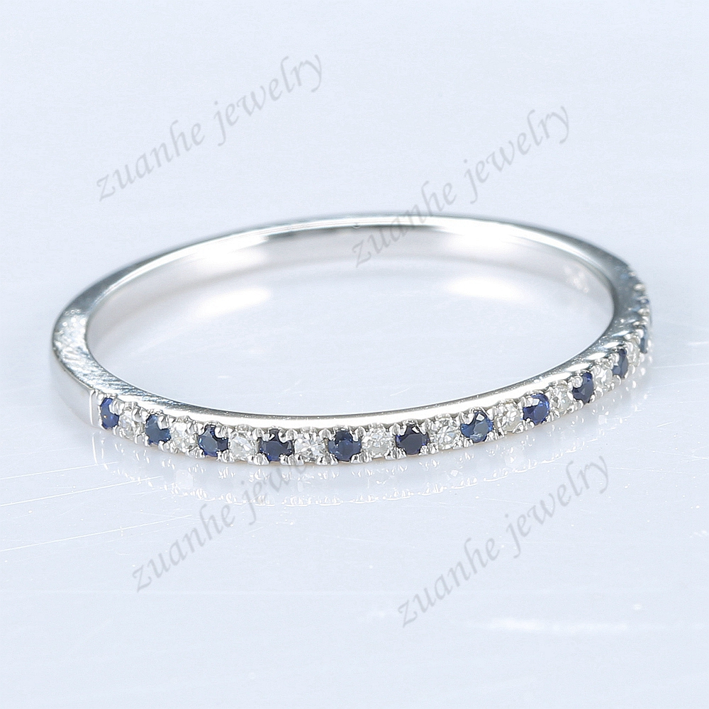 Half Eternal 24ct Natural Diamonds Sapphires Wedding Band 14k White Gold Ring  Engagement Anniversary Ring