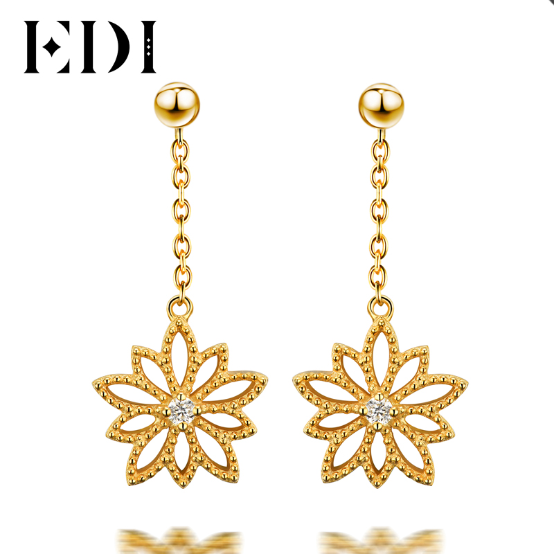EDI Classic Real Natural Diamond H/SI Drop Earrings For Women 14k 585 Yellow Gold Star Flower Tassels Earrings Fine Jewelry pair of classic faux crystal tassels earrings for women