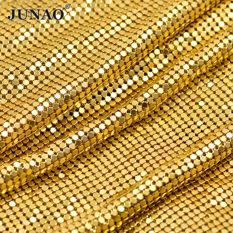 JUNAO 45 * 120cm Gull Sølv Aluminium Mesh Metall Trim Rhinestone Fabric Sheet Strass Band Krystall Appliques For DIY Kendall Kjole