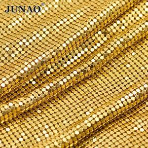 JUNAO 45 120cm Gold Silver Aluminum Mesh Metal Trim Rhinestone Fabric Sheet Strass  Band Crystal Appliques for DIY Kendall Dress 179b122a2e12
