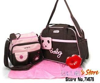 Free Shipping Whole 5pcs Lovely Bear Carter Mummy Bag Sets Pink Heart Baby