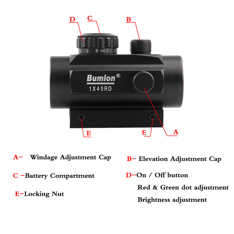 Holographic 1 x 40mm Airsoft Red Green Dot Sight RL5-0013-11