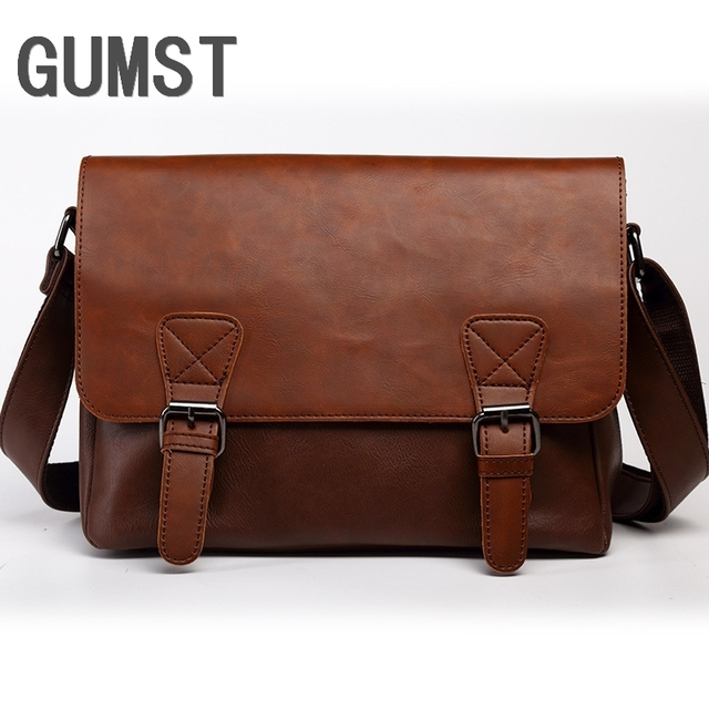 GUMST Leather men messenger bags vintage black business men shoulder crossbody Laptop bag casual high quality briefcase
