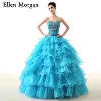 Cheap Quinceanera Dresses 2018 Real Pictures Sweet 15 16 Sexy Ruffles Lace up Floor Length Organza Puffy Princess Prom Gowns