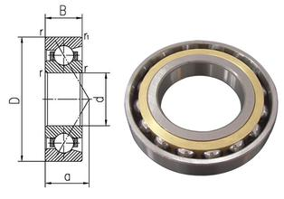 80mm diameter Angular contact ball bearings 7016 C/P4 80mmX125mmX22mm,Contact angle 15,ABEC-7 Machine tool