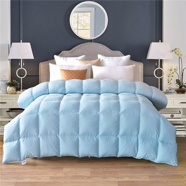 Awesome Luxury White Goose Down Comforter Twin Queen King Size Duvet Solid Blue  Winter Thick Warm Quilt