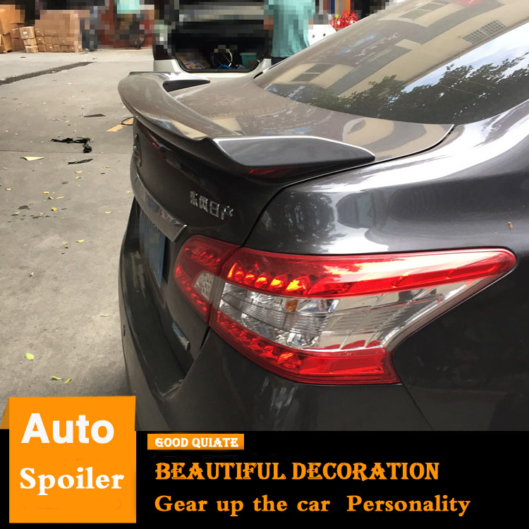 US $26 55 41% OFF|For 2012 2016 Nissan Sentra SYLPHY Spoiler With brake  lights 2014 ABS Material Car Rear Wing Primer Color Trunk Rear Spoiler-in