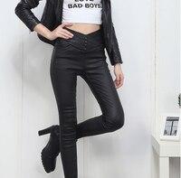 2018 nuevas botas de cuero negro pantalones flacos de las polainas pantalones de las mujeres calientes pantalones para las mujeres de la alta calidad
