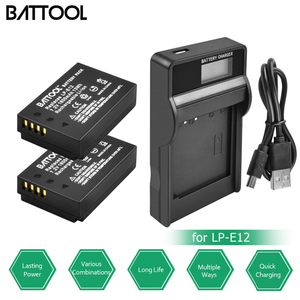 2Packs AKKU LP-E12 LPE12 LP E12 Battery 7.2V 1800mAh +1 USB Charger with LED for Canon EOS M10 M100 M2 100D Kiss X7 Rebel SL1 2pack lp e12 lp e12 lpe12 high capacity replacement batteries 1800mah for canon rebel sl1 eos m eos m2 eos m10 mirrorless