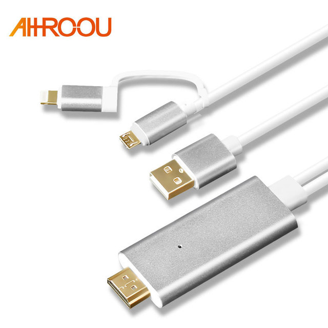 new product 4325e eb364 US $13.39 |3 in 1 For MHL HDMI Cable For Samsung A7 J5 / For iPhone X 8 7 6  6 Plus Huawei Micro USB to HDMI Cable Adapter HDTV TV Connector-in HDMI ...