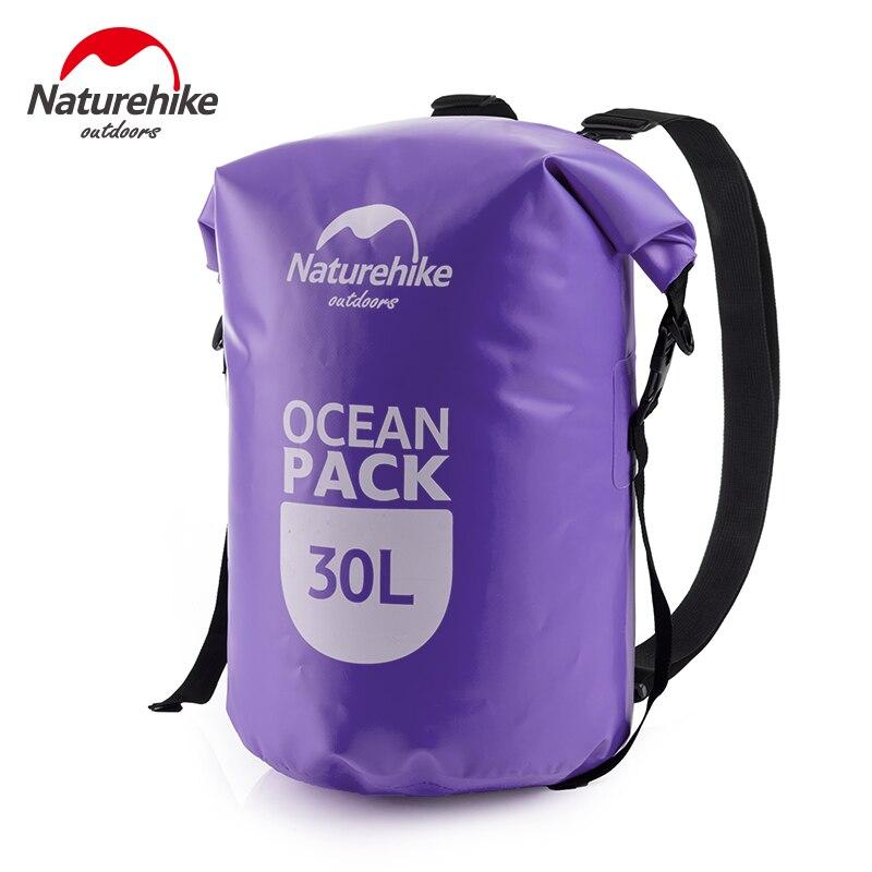 Naturehike 20L 30L Barril-Em Forma de Lona Caminhadas Selo Rafting Bag Duplo Alças Pacote Oceano Saco Impermeável À Deriva Saco Seco ao ar livre