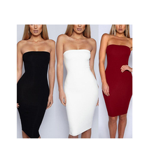 New arrival 2019 dress Women Sexy Sleeveless Solid Boob Tube Top Dress  Evening Party Stretch Pencil 798646636e1b