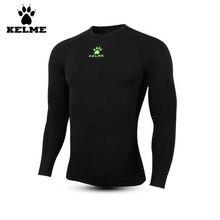 Kelme Men's Tight Soccer Jersey Quick-drying Stretch Winter Plus Velvet Long-sleeved Sportswear K15Z701 Black