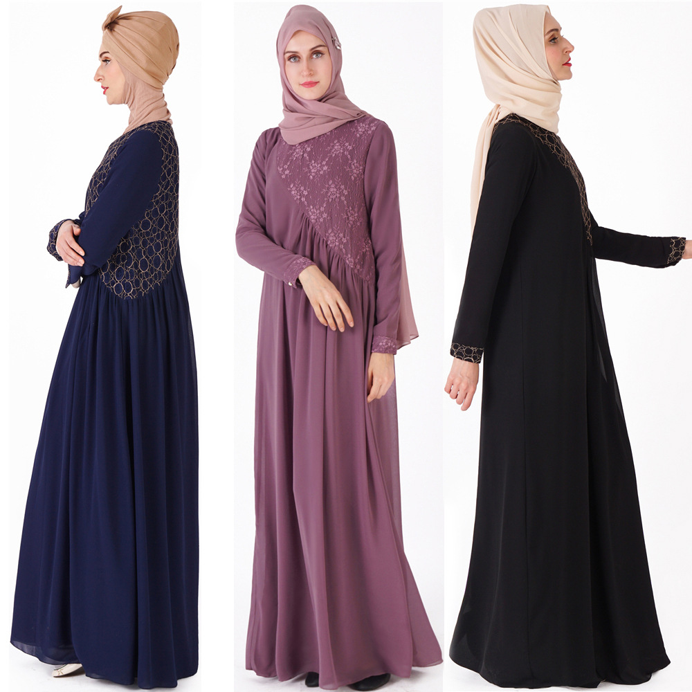 2019 New Muslim women gown gauze dress lace national costume Loose Solid color Full sleeve O-Neck