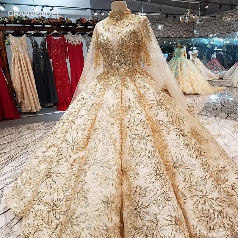 LS65840 платье люкс роскошные золотые кружева украшают Дубай торжественное платье Милая с плеча pleat платье невесты с золотое ожерелье длинный