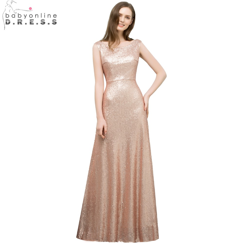 Babyonline 2019 Beautiful Rose Gold Sequin A LineProm Dresses Long Formal Party Dresses Prom Evening Gown vestidos de festa gown