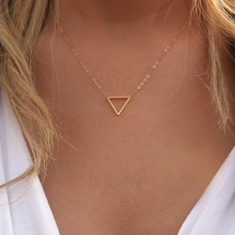 FLTMRH   Simple Chains Necklaces Triangle Necklace Delicate Minimal Triangle Necklace For Women Charm Necklace