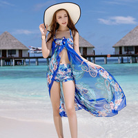 Women Floral Printed Bikini Set 3 Pieces Swimsuit Push Up Halter White Blue Black Swimwear With