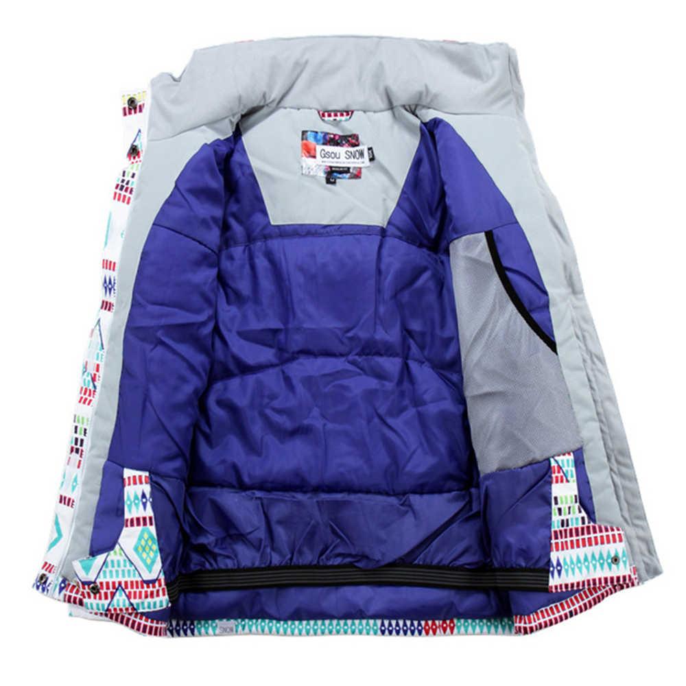 Gsou Salju Ski Jaket Outdoor Profesional Snowboard Mantel Tahan Air 10000 Thermla Warna-warni-30 Derajat Wanita Ski Jaket
