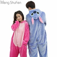 2017 Cartoon Characters Stitch Cosplay For Adult Unisex Onesies Sleepwear Flannel Winter Autumn Long Sleeve Pajamas