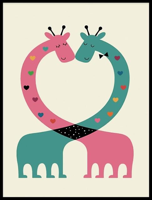 Animales De Dibujos Animados Amor Jirafa Lienzo Imprime Imágenes De