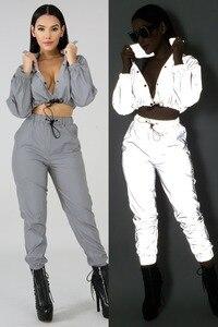 Echoine ملابس رياضية النساء الأزياء عاكس اثنين قطعة مجموعة زر رياضية طويلة الأكمام مثير المحاصيل قمم طويلة السراويل الإناث وتتسابق