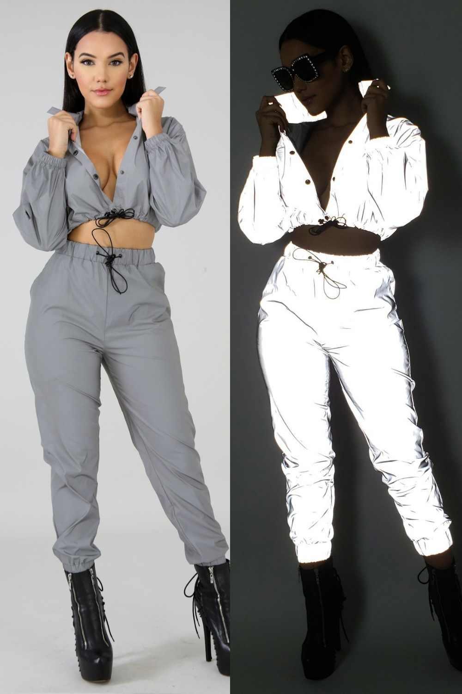 e2eb716e1b71 ... Echoine Sport Suits Women Fashion Reflective Two Piece Set Button Tracksuit  Long Sleeve Sexy Crop Tops ...