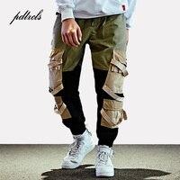Hip Hop Cargo Pants Streetwear Mens Baggy Harem Pants Patchwork Multi Pocket Trousers Casual Tatical Pants Swag Ribbon Harajuku