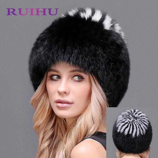 Naturel Renard Chapeaux De Fourrure pour les Femmes Réel De Fourrure Bonnets  Cap Tricoté chapeaux Russe 656fb28eeec