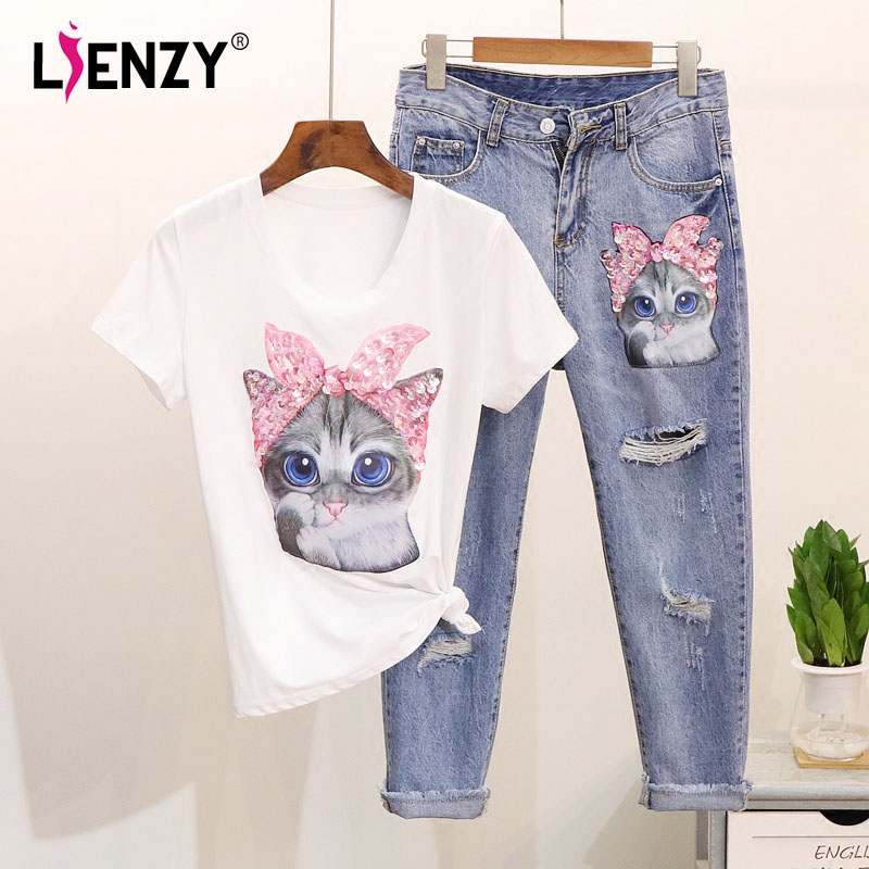 LIENZY Summer Women Beads 2 Piece Set Cat Sequined Short Sleeve T Shirt And Diamond Ripped Jeans Womens Suit
