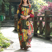 2016 Spring Women Dress Batwing Sleeve Maxi Dress O Neck Abstract Printing Cotton Linen Ethnic Robe