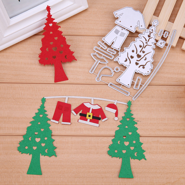 Navidad árbol Santa Claus metal Recortes de papel stencil DIY ...